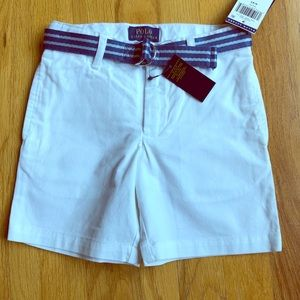 Polo Ralph Lauren Boys White Shorts w/Belt NWT